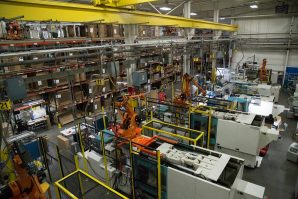22 Work Centers, most equipped with robots